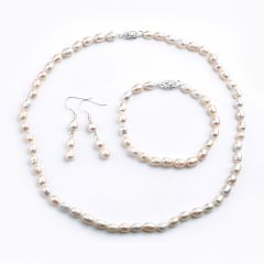 Rice-shape 6-7mm White Freshwater Pearl Necklace Set FN1114