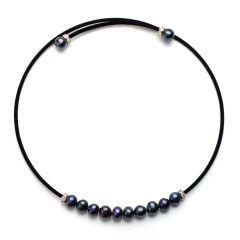 Luxury 7-8mm Black Potato Pearls Choker Necklace Black Cotton Cord for Ladies