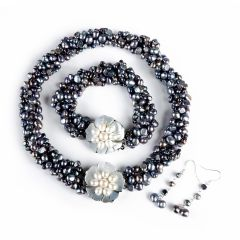 FN247 7-8mm nugget pearl necklace, bracelet, earrings set