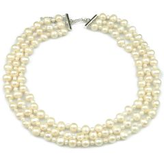 Triple-strand 4-5mm & 8-9mm White Potato Freshwater Cultured Pearls Necklace