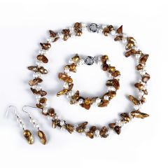 FN415 Two Twisted Strands Light Brown Blister Pearl Necklace Bracelet Earrings Jewelry Set