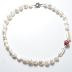 Women's 9-10mm Nugget White Freshwater Pearl Red Rhinestone Metal Ball Beads Necklace
