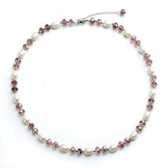 Rice 7-8mm White Pearls with Purple Crystal Necklace