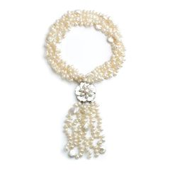 Tassel Pearl Necklace Twisted Freshwater Pearls with Flower Shell