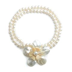 Flower White Shell Brooch 8-9mm Potato White Pearls Necklace 28 Inch