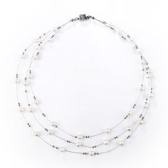 White Fresh Water Pearl Necklace Moving Tin Cup Necklace for Ladies Jewelry