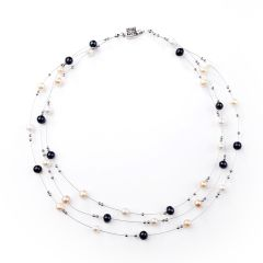 Multi-color Fresh Water Pearl Women's Fashion Necklace Moving Tin Cup Necklace