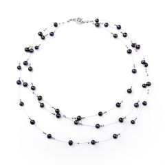 Elegant Black Fresh Water Pearl Necklace Movable Tin Cup Necklace