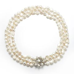 8-9mm Nugget White Freshwater Pearl Three Strand Necklace