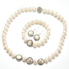 9-10mm Potato White Pearl Jewelry Set 14-15mm Rhinestones Coin Pearls FNS164