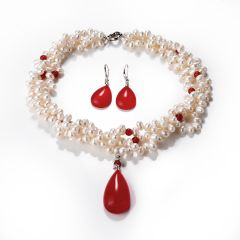 Teardrop Red Agate Stone Pendant Twisted Freshwater Pearl 3 Strand Necklace Earrings Jewelry Set