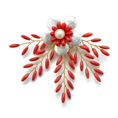 Beauty White Coin Pearls Flower Brooch Red Coral Beads Handmade Freshwater cultured pearl Brooch