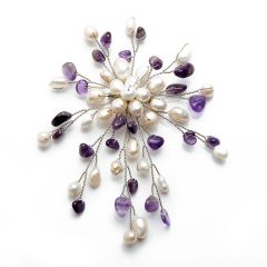 Luxury Freshwater Cultured White Pearls Amethyst Chip Stone Brooch