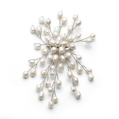 Classic Fashion Freshwater Cultured White Pearls Brooch for Ladies Jewelry