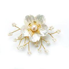 Elegant White Pearls Brooch White Shell Flower Hand Wired Golden Metallic Thread