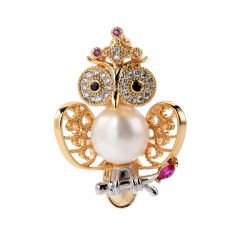 Cute Animal Owl Pin Brooch with White Pearls for Women Girls Jewelry Accessories