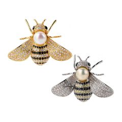 Lovely Pearl Honey Bee Animal Collar Pins Brooches For Women Lapel Brooches Jewelry