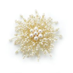 Radial Fashion Model White Pearls Brooch Hand Wired Golden Metallic Thread