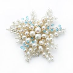 Handmade Radial Shape White Pearls Brooch with Blue Crystal Beads Ornament for Women