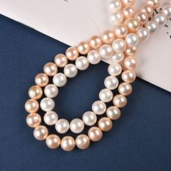 10-11mm White/Pink Round Natural Freshwater Pearls Loose Beads Strand 15""