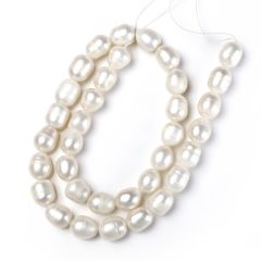 Jewelry Making Beads 8-9mm White Rice Fresh water Pearl Loose Beads Strand
