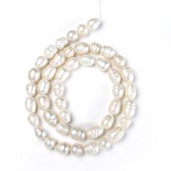 8-9mm White Rice Fresh water Whorled Pearl Loose Beads Strand