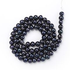 7-8mm Black Round Freshwater Pearl Loose Beads Strand for DIY Jewelry