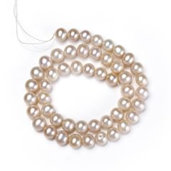 8-9mm Pink Round Freshwater Pearl DIY Jewelry Making Beads Strand