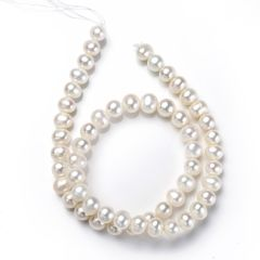 White Round Pearl Beads Strand 8-9mm for DIY Necklace Bracelet Making