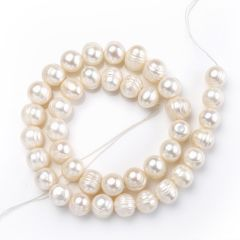 9-10mm White Round Fresh water Whorl Beads Pearl Strand for DIY Jewelry