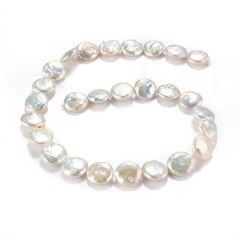 Coin Pearls Strand Cultured Keshi Loose Pearl Beads for Necklace Bracelet DIY 5*15mm 16 inch