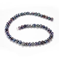 Nugget Black Freshwater Pearl Loose Beads for DIY Necklace Jewelry 7-8mm 14 Inch