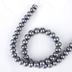 Button Black Cultured Freshwater Pearl Loose Beads Strand 9-10mm for Jewelry Making