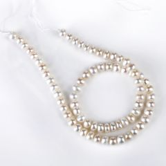 Button-shaped Freshwater Pearl Beads Strand 6-7mm for DIY Jewelry Making