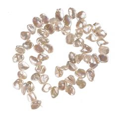 10mm White Reborn Keshi Natural Cultured Pearl Strands Cornflake Pearls Wholesale