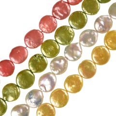 Full Strand High Quality 12-14mm Freshwater Coin Pearls for Jewelry Making