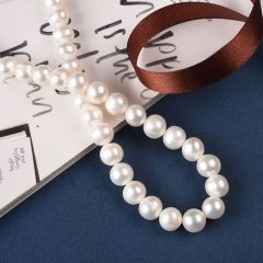 9-10mm Natural White Off Round Cultured Freshwater Pearls Strand 15 inch