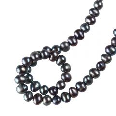 15 inch Strand of Culture Freshwater Potato Pearl 4-5mm Black