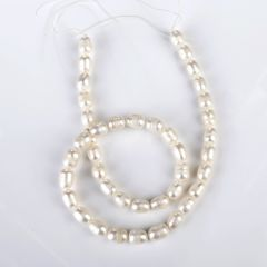 6-7mm White Rice Pearl Loose Beads Strand for DIY Jewelry Accessory