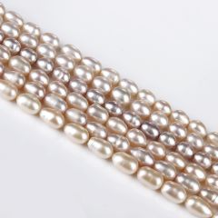 Rice Freshwater Pearl Loose Beads Strand 7-8mm for DIY Jewelry Accessories