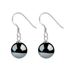 Elegant Round 10mm Black Hematite Bead Earrings 925 Sterling Silver Ear Hooks