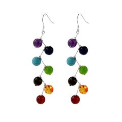 Rainbow Chakra Stones Long Dangle Earrings 925 Sterling Silver Hook