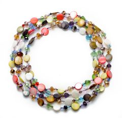 Gorgeous Multi-color Coin Shell Beads with Crystal Necklace 60 Inch for Women's Jewelry