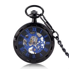 Blue Roman Numerals Mechanical Pocket Watches Black Case with Alloy Chain