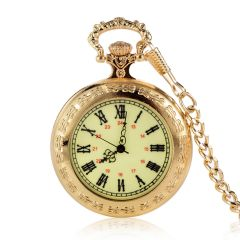 Vintage Roman Numerals Scale Quartz Pocket Watches Green Dial Golden Case with Chain
