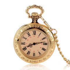 Vintage Golden Case Roman Numerals Quartz Movement Pocket Watches for Gift