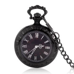 Fine Black Pocket Watch Necklace Pendant Retro Pocket watch with 15 inch chain