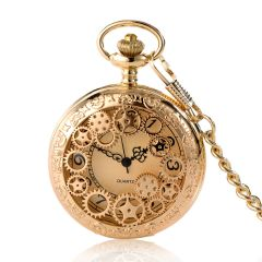 Wonderful Hollow Gears Pocket Watch Quartz Movement Gold