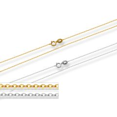 18K Yellow Gold Rolo Necklace Chain Setting 18 inch