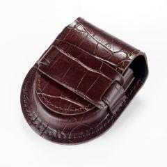 Vintage Brown Leather Pocket Watch Holder Storage Case Purse Pouch Bag